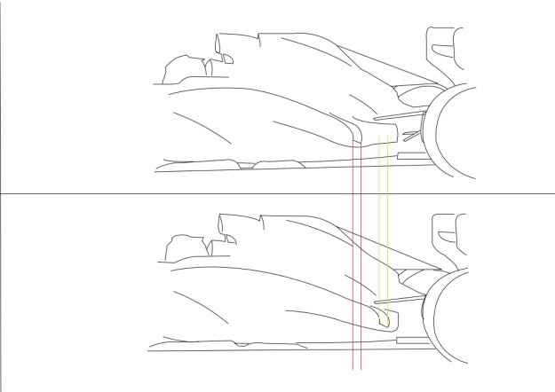 Ferrari have been playing around with the positioning of the trough to try to minimise the influence of the airflow coming around the sidepod - http://oi41.tinypic.com/xmu8if.jpg