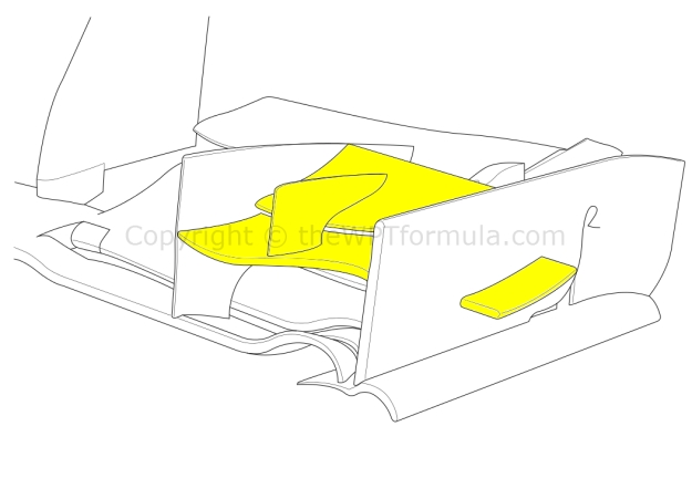 Sauber extended the length of the pressure gradient vane on the front wing endplated (highlighted, right)