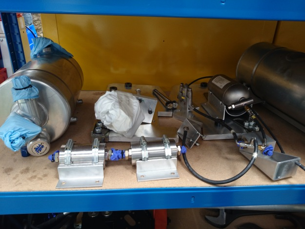The fuel pump system for the engine, that is used to pump the jet engine fuel. Cosworth were the original suppliers but backed out after they were bought out, so the team got hold of an MGT motor instead.