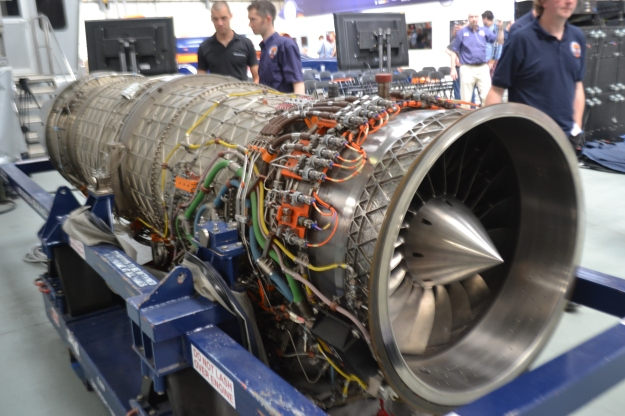 The Eurofighter EUROJET EJ200 engine was also out on display. Surprisingly this is under a seventh of the total mass of the car before it sets off at just over one tonne. The onboard fuel is close to 3 tonnes.